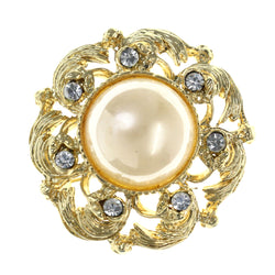 Gold-Tone & White Colored Metal Brooch-Pin With Bead Accents #LQP1505