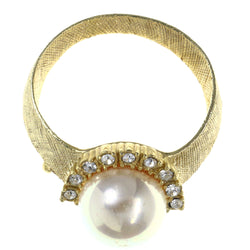 Ring Brooch-Pin With Bead Accents Gold-Tone & White Colored #LQP1506