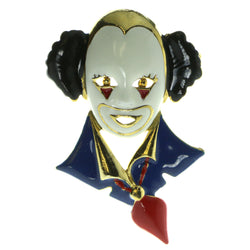 Clown Brooch Pin Gold-Tone & Multi Colored #LQP158