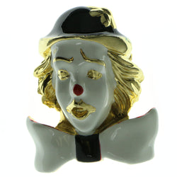 Clown Brooch-Pin With Colorful Accents Gold-Tone & White Colored #LQP210