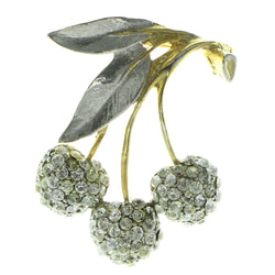 Cherries Brooch-Pin With Crystal Accents Gold-Tone & Silver-Tone Colored #LQP221