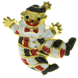 Clown Brooch-Pin Gold-Tone & Multi Colored #LQP230