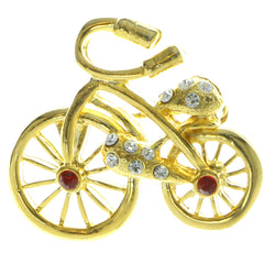 Bicycle Brooch-Pin With Crystal Accents Gold-Tone & Red Colored #LQP248