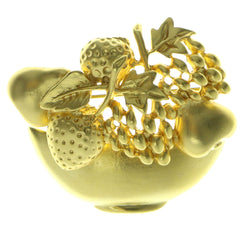 Fruit Bowl Brooch-Pin Gold-Tone Color  #LQP273