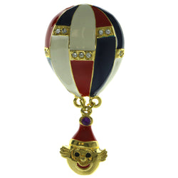 Hot Air Balloon Brooch-Pin Gold-Tone & Multi Colored #LQP276