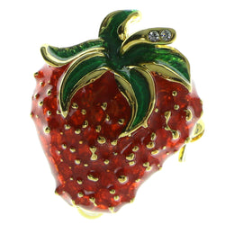 Strawberry Brooch-Pin Gold-Tone & Red Colored #LQP282
