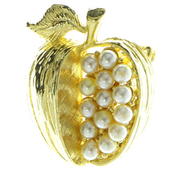 Apples Brooch-Pin With Bead Accents Gold-Tone & White Colored #LQP303