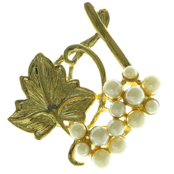 Grape Vine Brooch-Pin With Bead Accents Gold-Tone & White Colored #LQP370