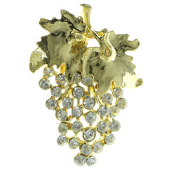 Cluster Of Grapes Brooch-Pin With Crystal Accents  Gold-Tone Color #LQP395