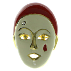 Clown Face Brooch-Pin With Crystal Accents Gold-Tone & Red Colored #LQP405