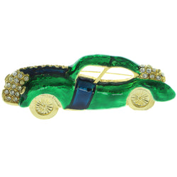 Car Brooch-Pin With Crystal Accents Gold-Tone & Green Colored #LQP407