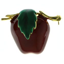 Apples Brooch-Pin Gold-Tone & Red Colored #LQP408