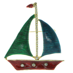Sailboat Brooch-Pin With Crystal Accents Gold-Tone & Multi Colored #LQP411