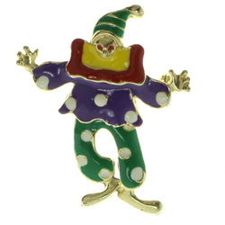 Clown Brooch-Pin With Colorful Accents Gold-Tone & Multi Colored #LQP413