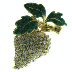 Strawberry Brooch-Pin With Crystal Accents Gold-Tone & Green Colored #LQP414