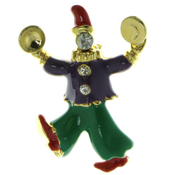 Clown Brooch-Pin With Crystal Accents Gold-Tone & Multi Colored #LQP416