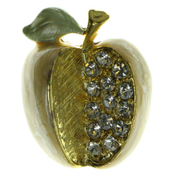 Apples Brooch Pin With Crystal Accents Gold-Tone & Peach Colored #LQP41