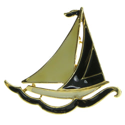 Sailboat Brooch-Pin Gold-Tone & Black Colored #LQP427