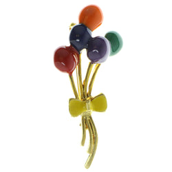 Balloons Brooch-Pin Gold-Tone & Multi Colored #LQP429