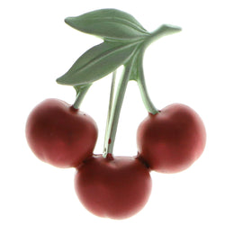 Cherries Brooch-Pin Silver-Tone & Red Colored #LQP430