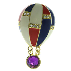 Hot Air Balloon Brooch-Pin With Crystal Accents Gold-Tone & Multi Colored #LQP436