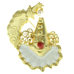 Clown Brooch-Pin Gold-Tone & White Colored #LQP437