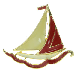 Sailboat Brooch-Pin Gold-Tone & Red Colored #LQP445
