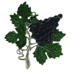 Grapes On A Vine Brooch-Pin Silver-Tone & Blue Colored #LQP539