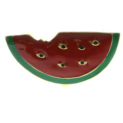 Watermelon Slice Brooch-Pin Gold-Tone & Red Colored #LQP544