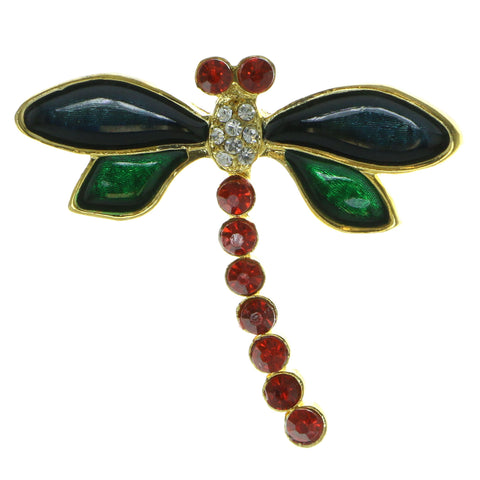 Dragonfly Brooch-Pin With Crystal Accents Gold-Tone & Multi Colored #LQP549