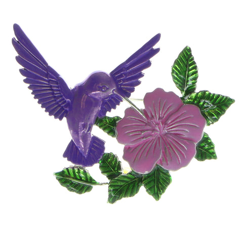 Hummingbird Brooch-Pin Silver-Tone & Purple Colored #LQP550