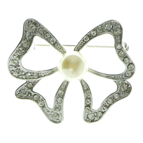 Bow Brooch-Pin With Crystal Accents Silver-Tone & White Colored #LQP551