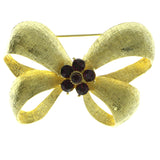 Bow Brooch-Pin With Crystal Accents Gold-Tone & Purple Colored #LQP555