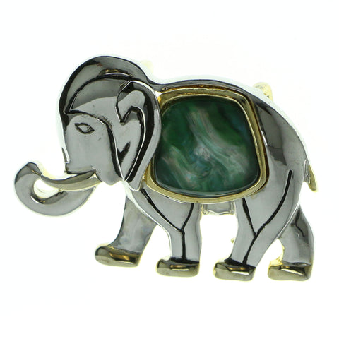 Elephants Brooch-Pin With Stone Accents Silver-Tone & Green Colored #LQP556