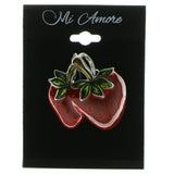Strawberry Brooch-Pin Silver-Tone & Red Colored #LQP561