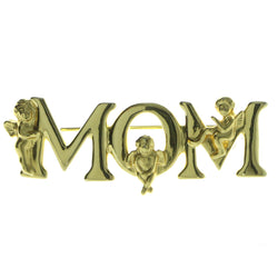Mom Brooch-Pin Gold-Tone Color  #LQP571