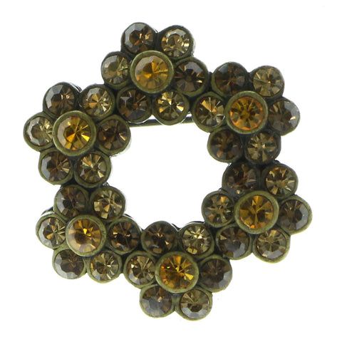 Flower Wreath Antiqued Brooch-Pin With Crystal Accents Gold-Tone & Yellow Colored #LQP575