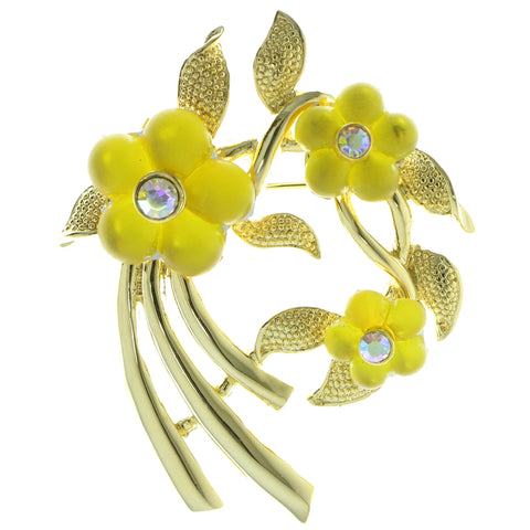 Flowers Brooch-Pin With Crystal Accents Gold-Tone & Yellow Colored #LQP577