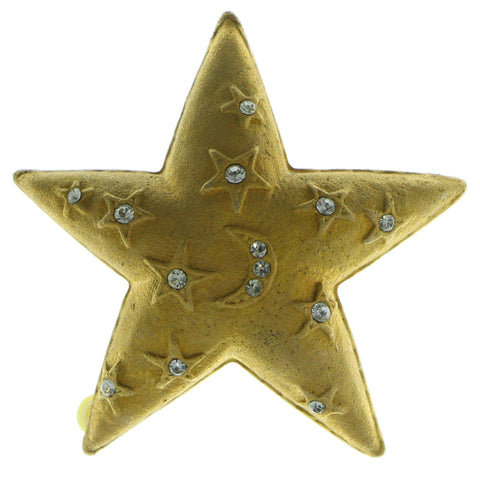 Star Moon Brooch-Pin  With Crystal Accents Gold-Tone Color #LQP578