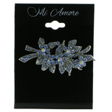 Flowers Brooch-Pin With Crystal Accents Silver-Tone & Blue Colored #LQP583