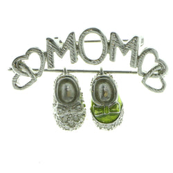 Mom Baby Shoes Brooch-Pin With Crystal Accents Silver-Tone & Green Colored #LQP586