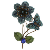 Flower Butterfly Brooch-Pin With Crystal Accents Brown & Blue Colored #LQP590