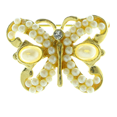 Butterfly Brooch-Pin With Bead Accents Gold-Tone & White Colored #LQP593