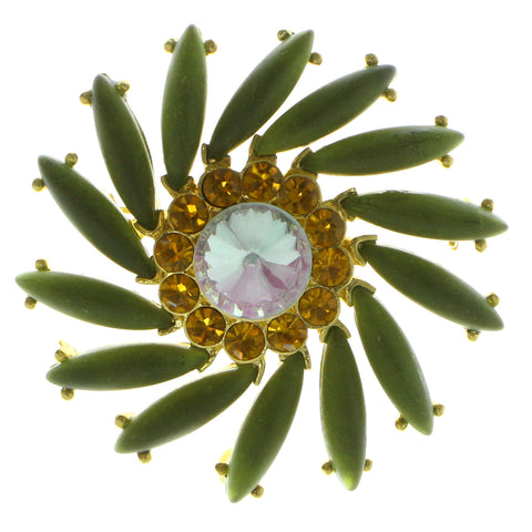 Flower Brooch-Pin With Crystal Accents Gold-Tone & Green Colored #LQP600