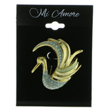 Swan Brooch-Pin Gold-Tone & Blue Colored #LQP603