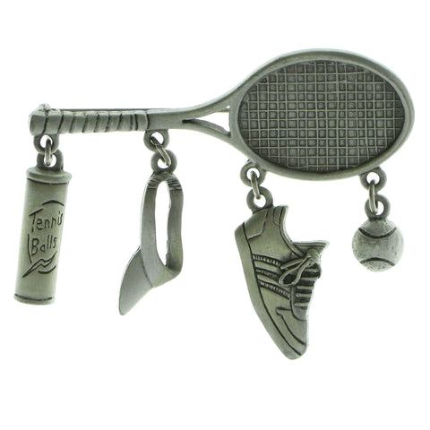 Tennis Racket Tennis Accessories Brooch-Pin  With Drop Accents Silver-Tone Color #LQP608