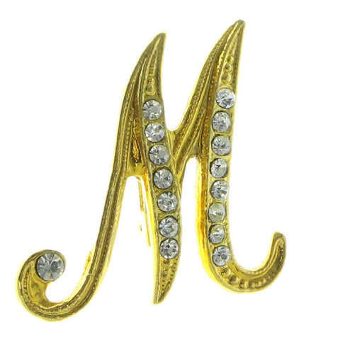 Initial M Brooch-Pin  With Crystal Accents Gold-Tone Color #LQP610