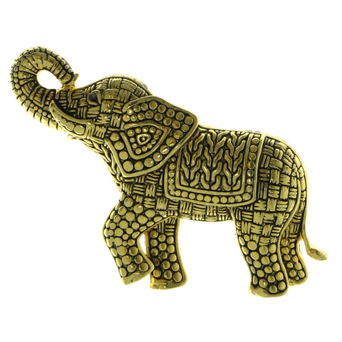 Elephants Brooch-Pin Gold-Tone Color  #LQP617