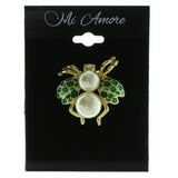 Insect Brooch-Pin With Bead Accents Gold-Tone & Green Colored #LQP620