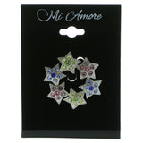 Stars Brooch-Pin With Crystal Accents Silver-Tone & Multi Colored #LQP627